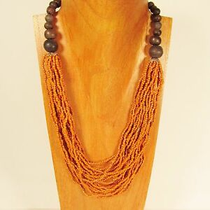25-034-Waterfall-Multi-Strand-Orange-Handmade-Wood-Accent-Seed-Bead-BOHO-Necklace