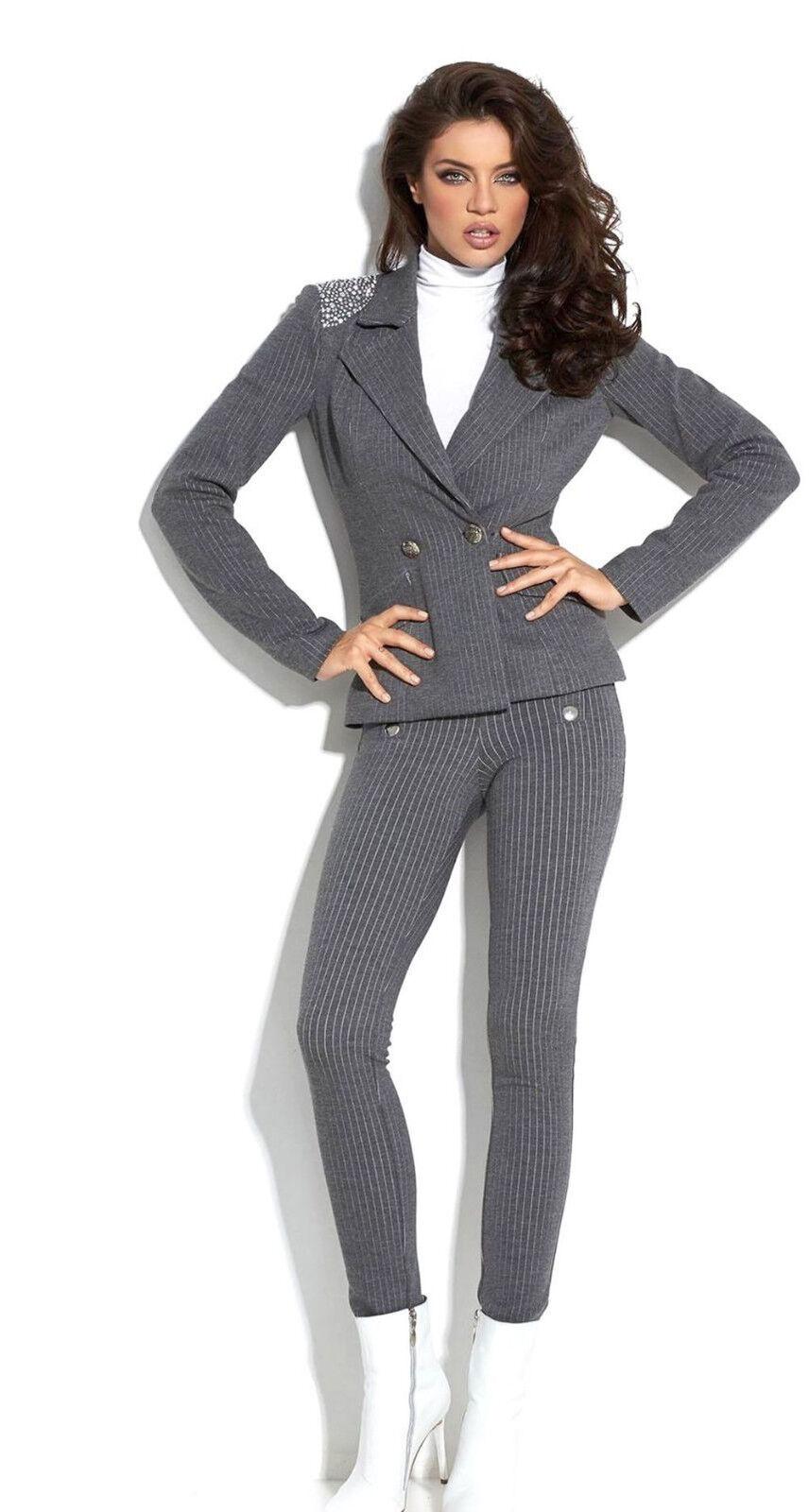 Av Alina 2 -Divider bussiness Blazer Trouser Dräkt Pinrande Skinny Trousers grå XS -M