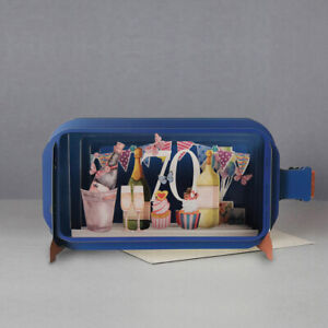 Message In A Bottle Champagne 70th Pop Up Birthday Greeting Card By Alljoy Cards