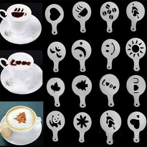 StainlessSteel Chocolate Shaker Duster or16xCappuccino Barista Stencil or1set UJ