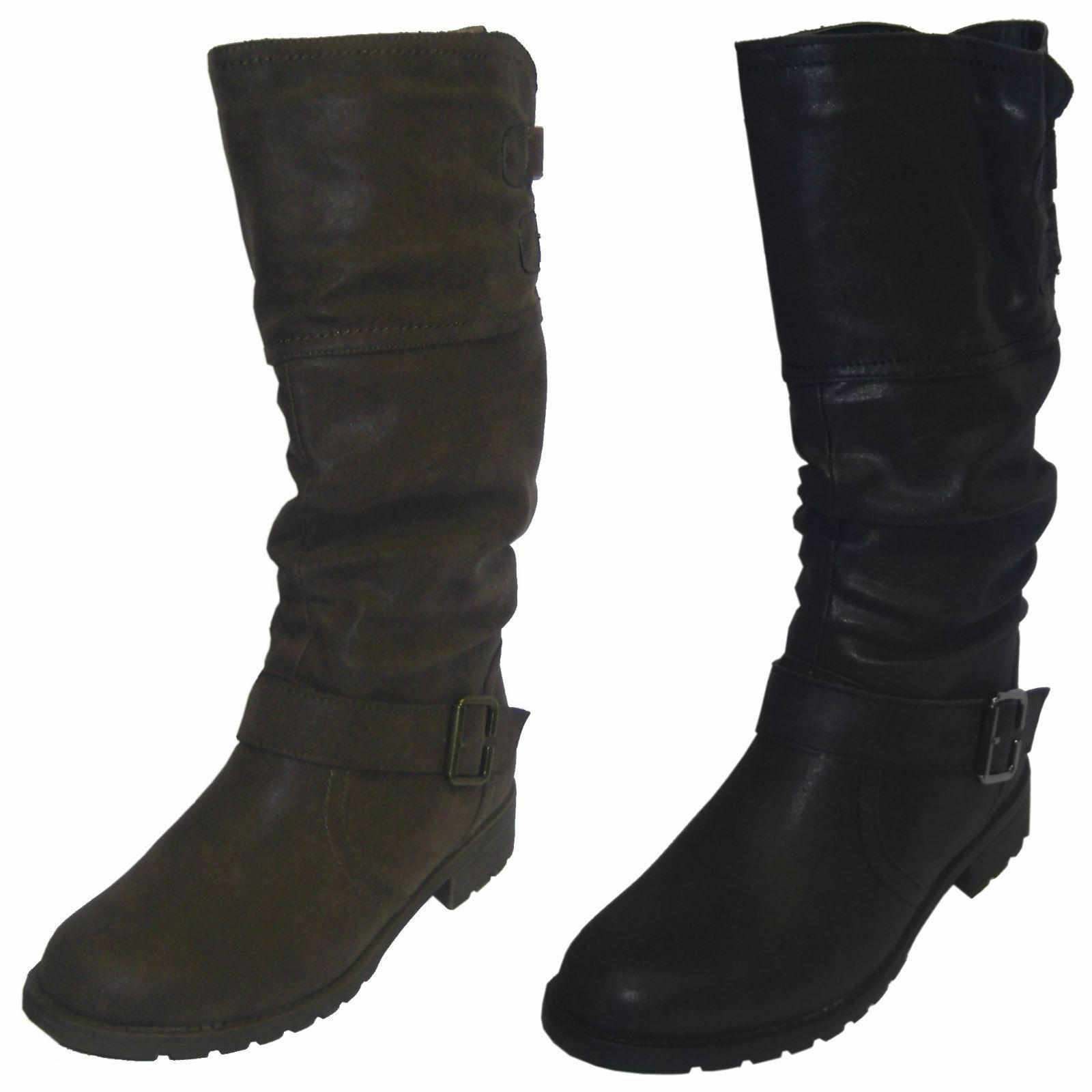Ladies Spot On! F50321 Black Or Brown Synthetic Casual Warm Lined Mid Calf Boots