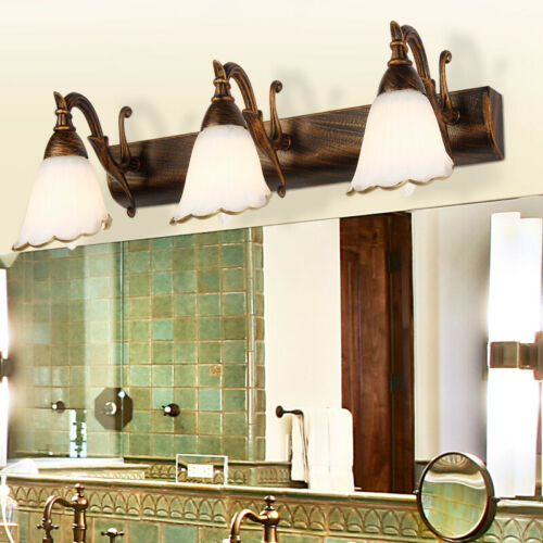 LED Wall Fixture Lamp Bathroom Makeup Mirror Front Light E14 Bulb Country Bronze