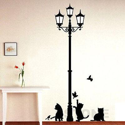 Street Light And Cat Room Decor Removable Vinyl Decal Mural Art PVC Wall Sticker