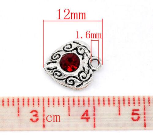 10 argent antique rouge cristal coeur charms//pendentif 10mm x12mm mariage-cartes 18E