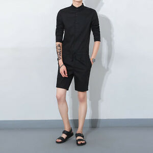 b577742db16 Magic Mens Stylish Short Sleeve Slim Fit Jumpsuit Romper Overalls ...