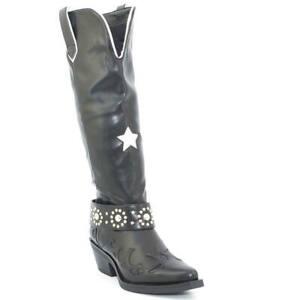Dettagli su Stivali donna texano alto nero con stella e rifiniture bianche cinturino con bor