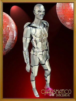 "Male warrior Futuristic styled silver mirror tiled covered ""armor"" costume set"