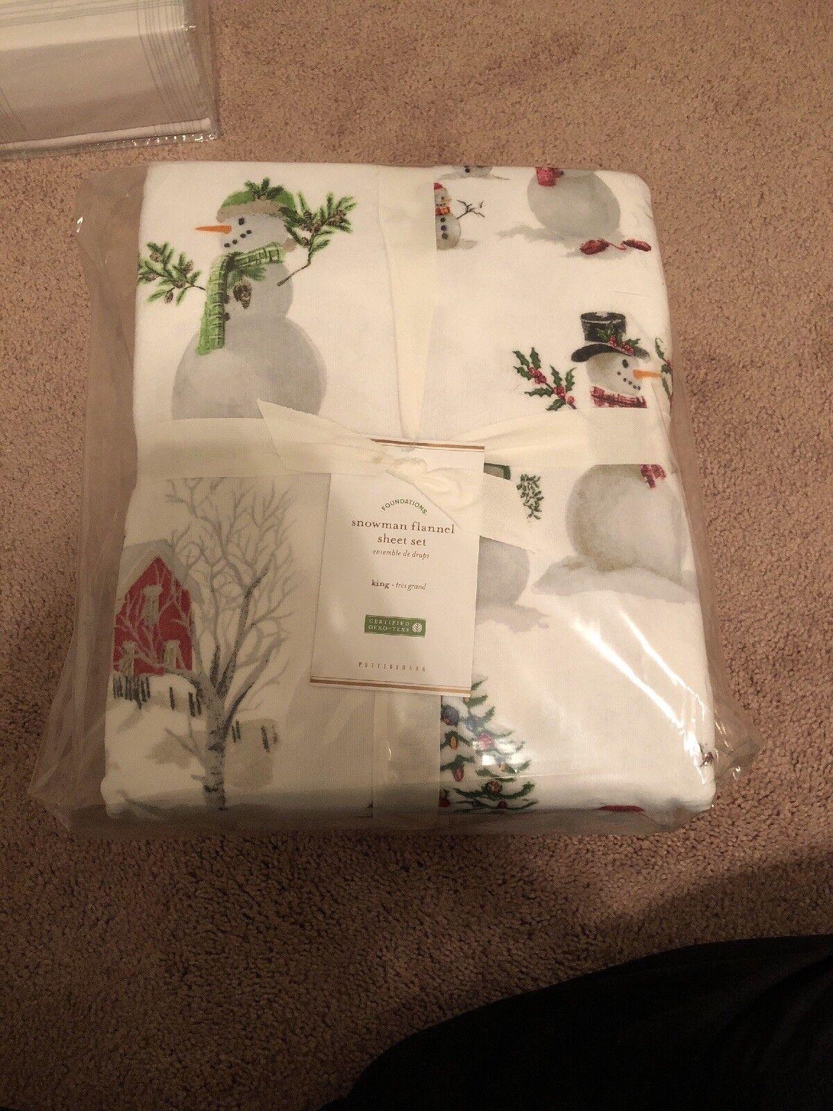 Neuf avec étiquettes POTTERY BARN bonhomme de neige Flanelle Feuille Set King Noël Vacances