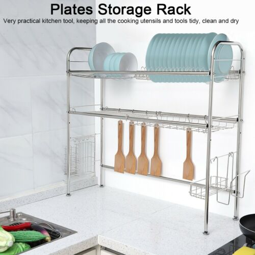 Stainless Steel Dish Drainer Over The Sink Plate Bowl Drying Wire Draining Rack