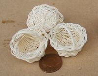 1:12 Scale Three Hand Made Wicker Baskets Dolls House Miniature Accessory Item E
