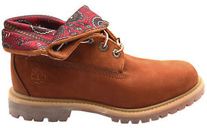 Timberland-Roll-Top-Femme-Bottes-en-Cuir-Marron-Chataigne-8260-A-D37