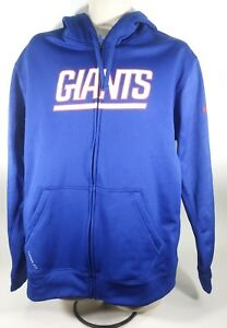 best sneakers c27d1 ac22d Details about NFL NY Giants New York Nike Therma-Fit Blue Fleece Hoodie  Large
