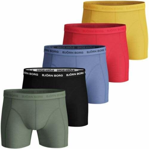 Bjorn Borg Men/'s 5-Pack Classic Logo Boxer Trunks Blue//Red//Yellow//Black//Khaki