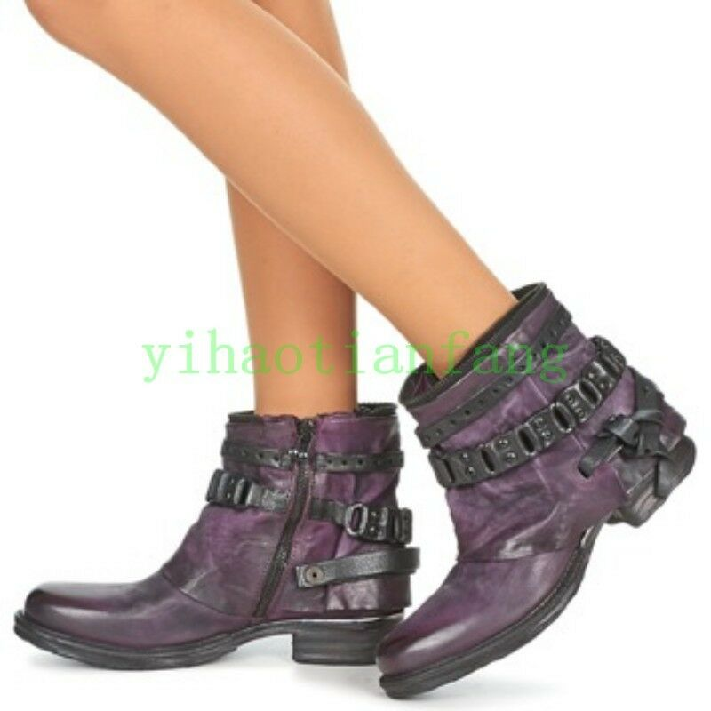 Vintage femmes Real Leather Ankle bottes Oxfords Punk Low Cuban Heels Knight Vogue