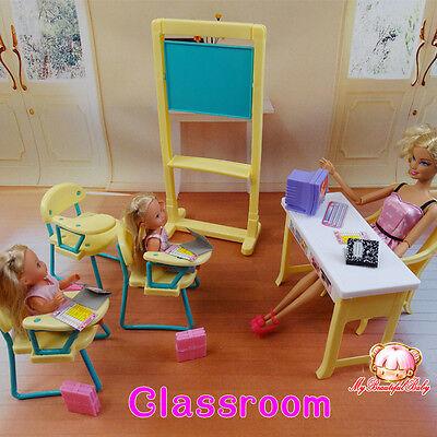 2017 New Fashion classing room Furniture (Desks + blackboard) for barbie doll