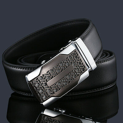 Luxury Business Mens Pattern Waistband Genuine Leather Automatic Buckle Belt