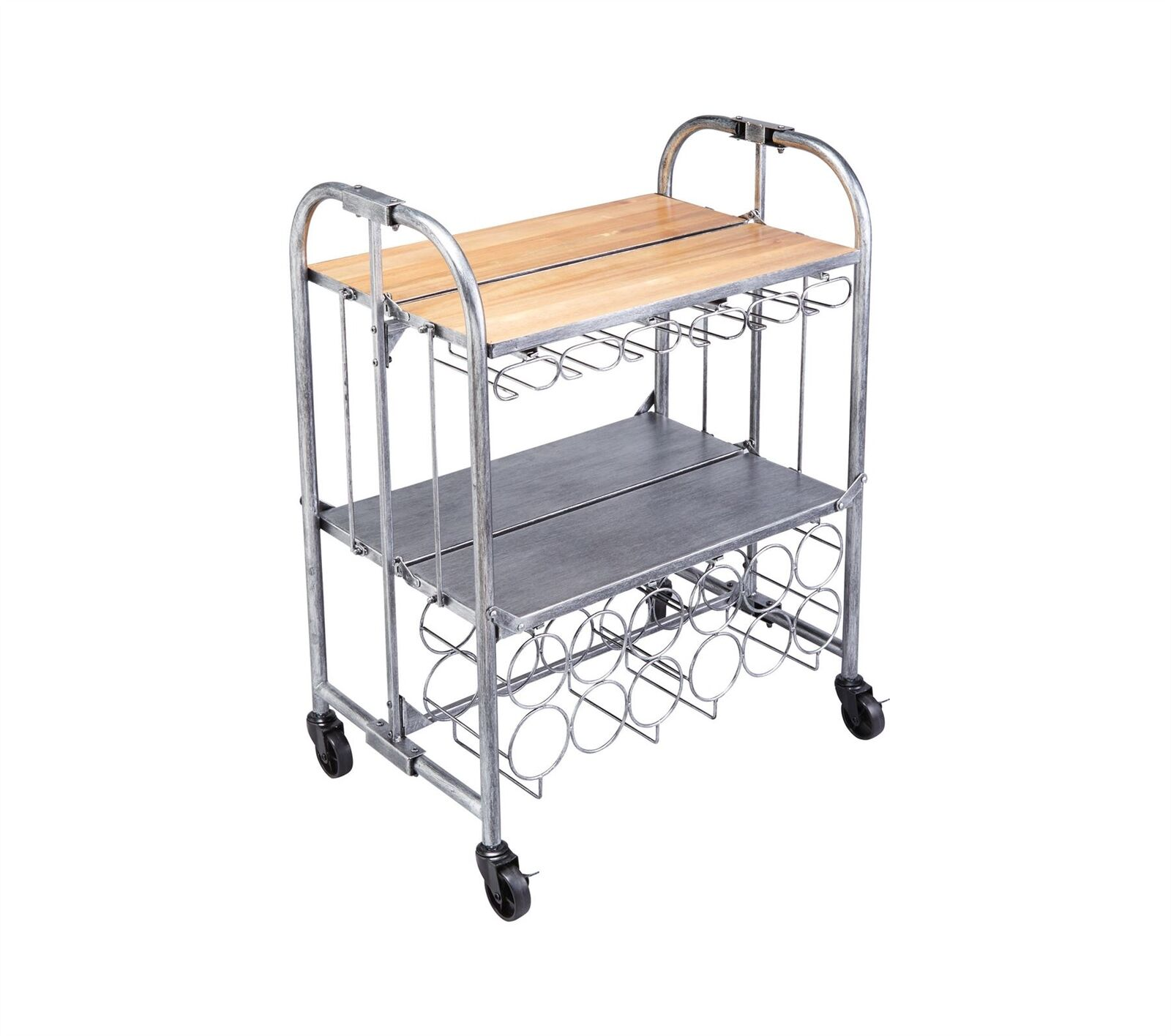 BarCraft Folding Industrial Look Carbon Steel Home Bar Drinks Trolley