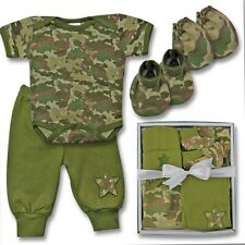 NEW Baby Boy Clothes shower gift 5 piece set 0-3 months camo camouflage army