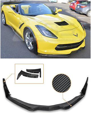 Z06s Z07 Performance Package Stage 2 Style Carbon Fiber Front Bumper Lower Lip Kit Splitter Spoiler Wing For 14-Up Chevrolet Corvette C7 2014 2015 2016 2017 14 15 16 17
