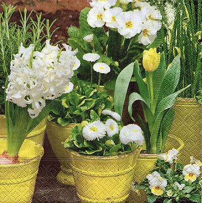 768 4 Servietten Napkins Tovaglioli Serviettentechnik Blumen Blüten Retro