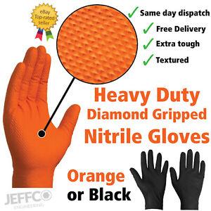 Orange Black Nitrile Gloves Heavy Duty Diamond Grip Disposable Latex Powder Free