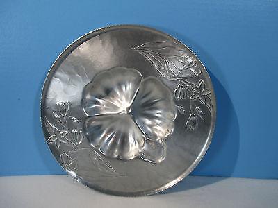 Hammered Aluminum Everlast Serving Plate Platter Chip & Dip Vintage 1940s Tulips