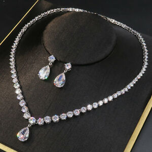 Image Is Loading Luxury All Cz Cubic Zirconia Necklace Earrings Set