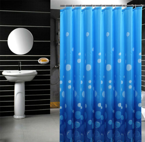 Blau Wasserblase Muster Bad Duschvorhang Hotel Wannenvorhang Wasserdicht Vorhang