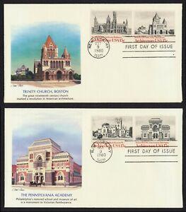 #1838-1841 15c Americano Arquitectura, Fleetwood FDC Cualquier 4