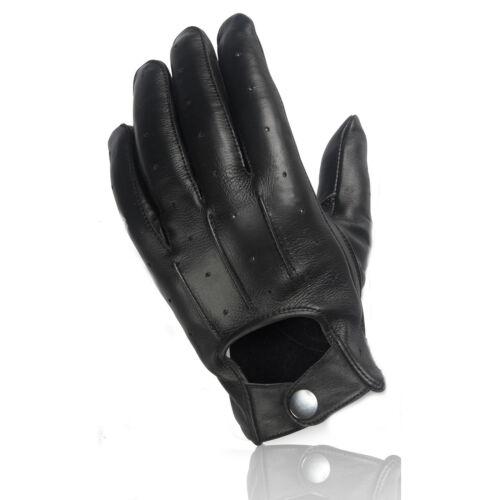 Echt Leder Herren Handschuhe zum knöpfen klassischbequemschwarzGröße L