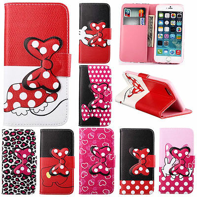 3D Butterfly knot Magnetic Case PU Leather Stand Card Wallet Flip Cover Lot Case