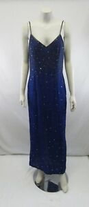Laurence-Kazar-Beaded-Sequin-Long-Dress-Gown-Silk-Spaghetti-Strap-Size-L-PD51