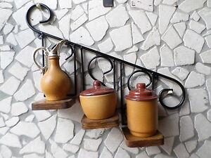 Portaspezie In Ferro Battuto.Dettagli Su Mensola Rustica In Ferro Battuto E Legno Fioriera Portaspezie Cucina Giardino