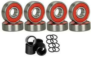 8-Skateboard-Longboard-Bearings-PRECISION-ABEC-9-RED-SHIELD-With-Spacers-Washers