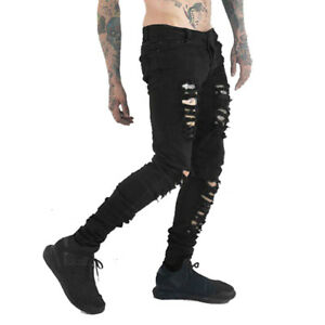 Men-Skinny-Slim-DieselPunk-Rock-Gothic-Jeans-Ripped-Destroyed-Denim-Pencil-Pants