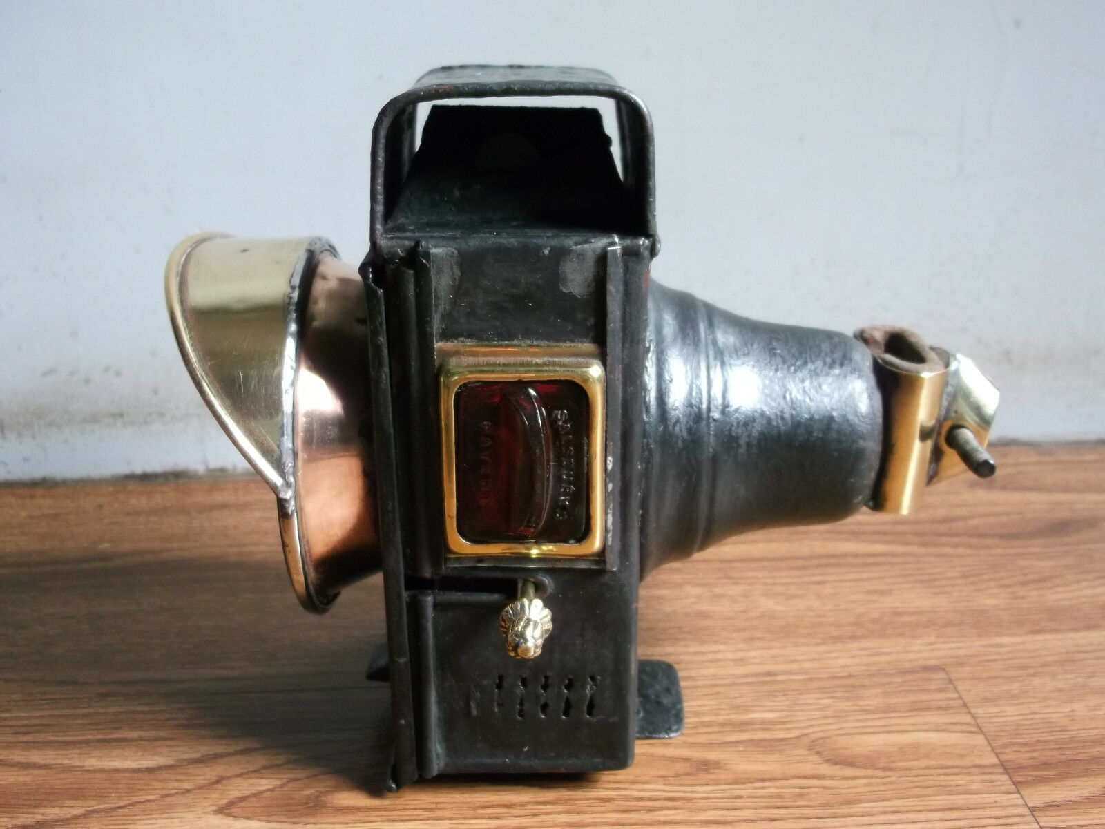 Rare vintage  SALSBURY'S  Patent iron and brass bicycle head lamp of 40's.
