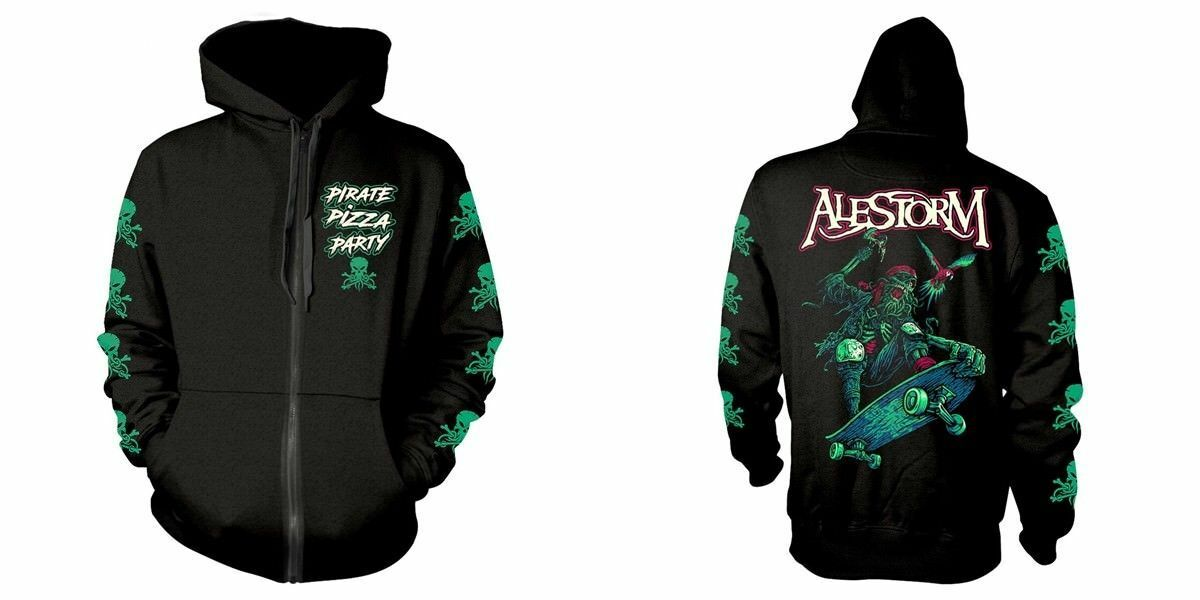 New Official ALESTORM - PIRATE PIZZA PARTY Hooded Sweatshirt