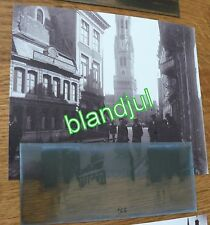 plaque verre + Photo bruges Belgique 1919 beffroi