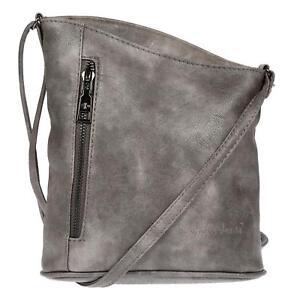 Damen-Schultertasche-Umhaengetasche-Handtasche-Leder-Optik-Tasche-Grau-Crossover