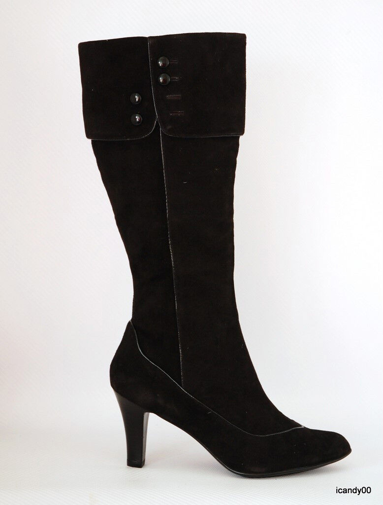 NEW SOFFT LOGRANO SUEDE BOOTS HEELS SHOES BLACK 11 43