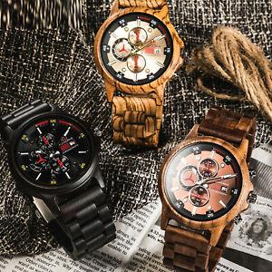 Orologio-da-uomo-in-legno-Legno-Quartz-Orologio-Casual-orologi-da-polso-naturali