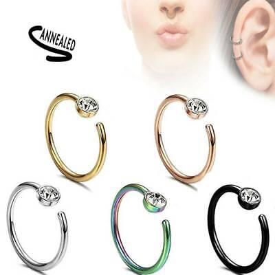5x Nose Ring Hoop Cartilage Ring 18 Gauge 316L Surgical Steel CZ Gem Earring US