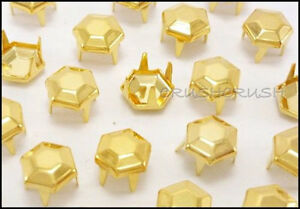Free-Shipping-50pcs-7mm-Gold-Facets-Hexagon-Nailhead-Studs-Spots-Vintage-S200