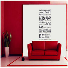 Love Family Rules In This House Vinyl Decal Mural Home Decor Quote Wall Sticker