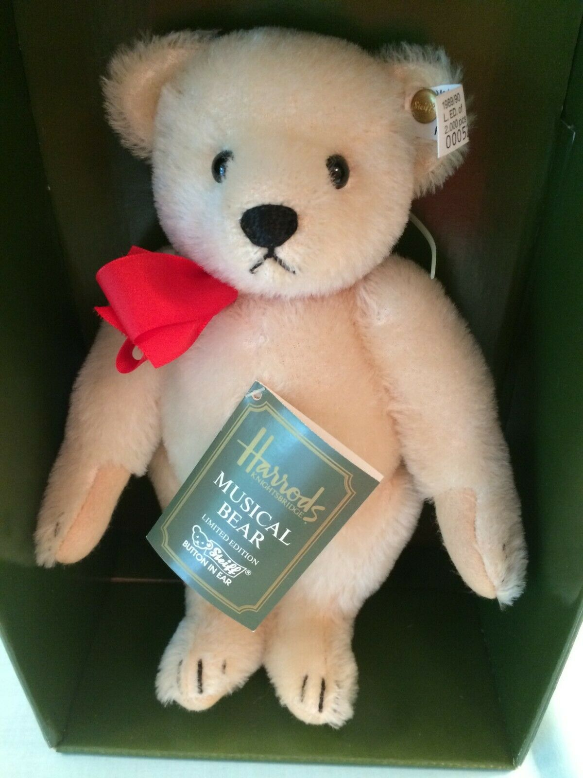 Steiff Harrods Musical Teddy Bear Weiß Tag LE 011917 0291 26 1989 90 NEW IN BOX