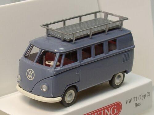 Bus mit Dachträger 0788 10-1:87 Typ 2 grau Wiking VW T1