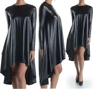 Women's Plus Size Black Faux Leather Hi Lo Mini Midi Swing Party ...