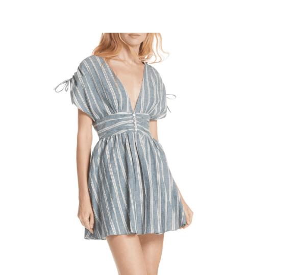Free People Womens Line Dress Small $128 Blue Striped Mini - Linen