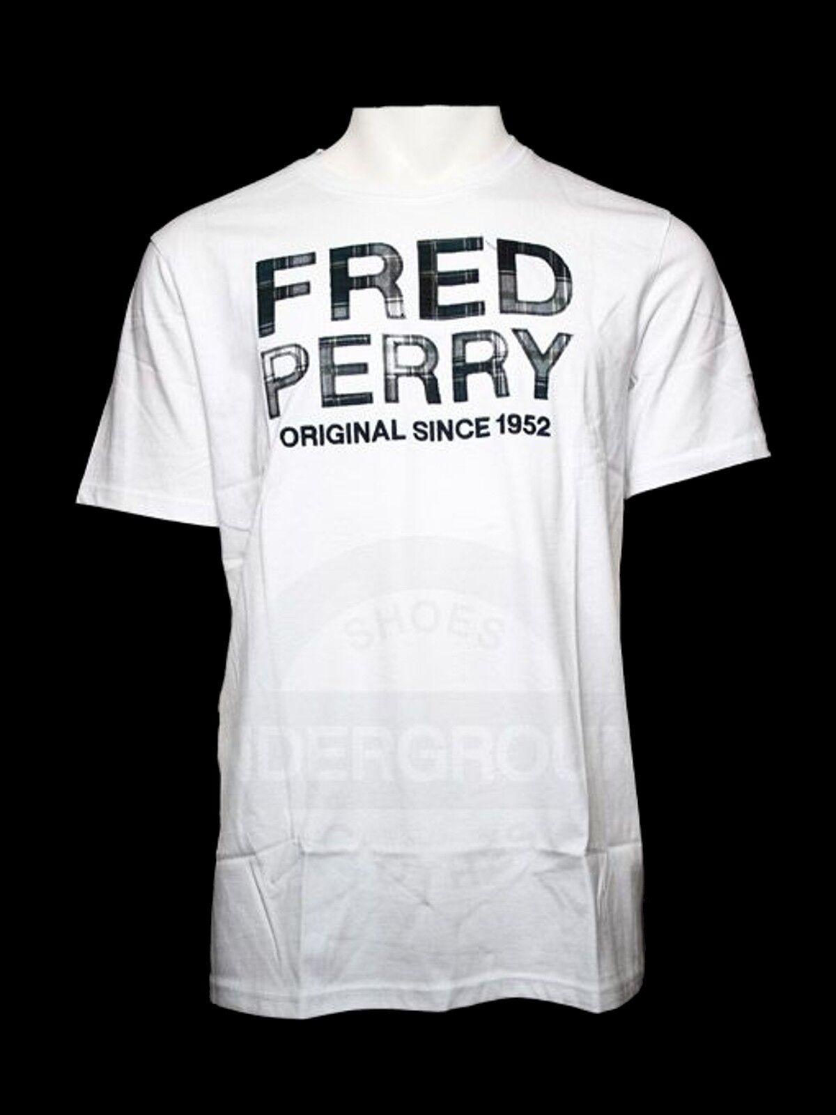 Fred Perry T-Shirt M1215 100 Weiß   Tartan Logo  5555