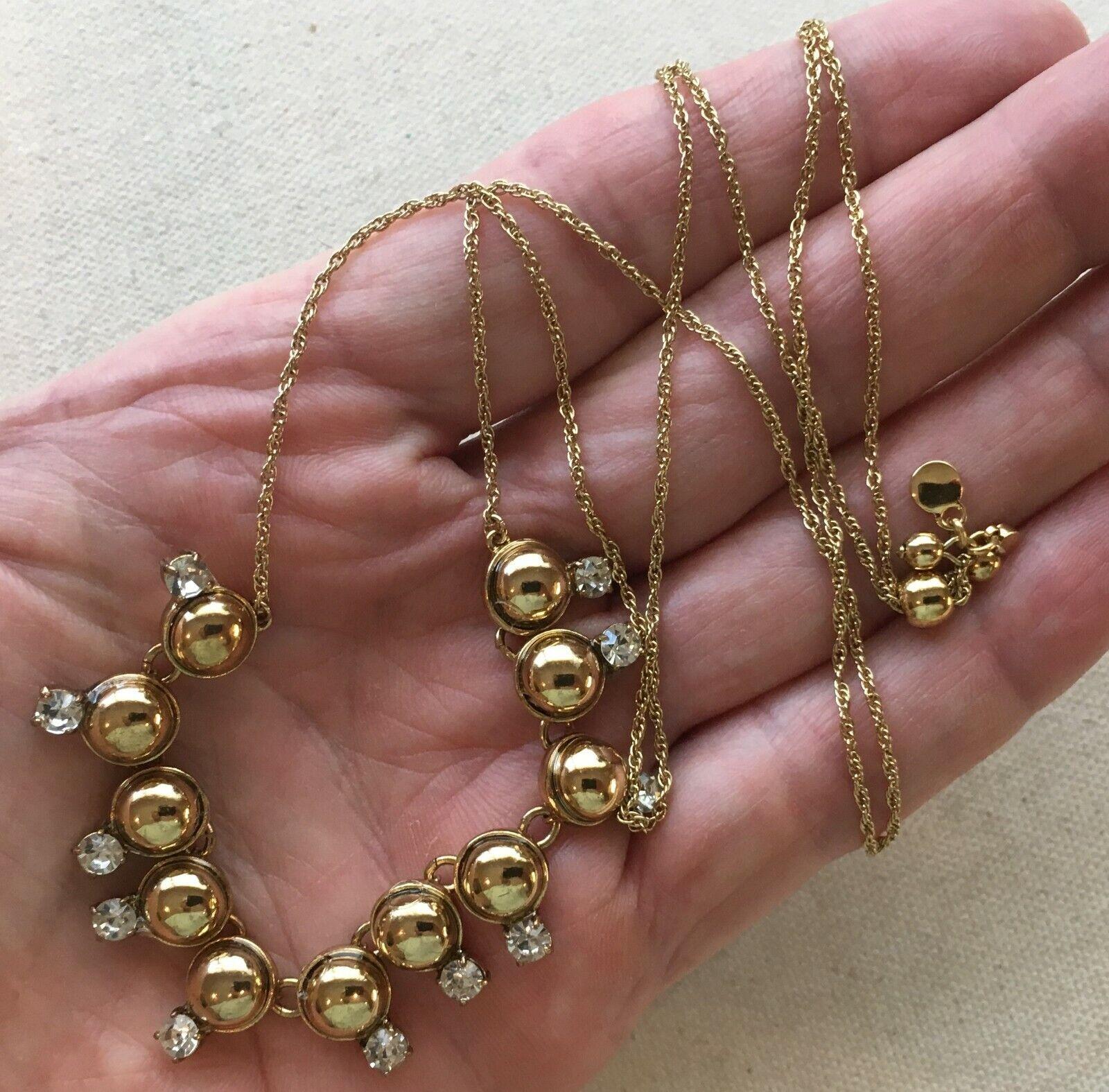 Ann Taylor Choker Necklace Rhinestone Caviar Bubbles Gold-Tone Steampunk 14-26